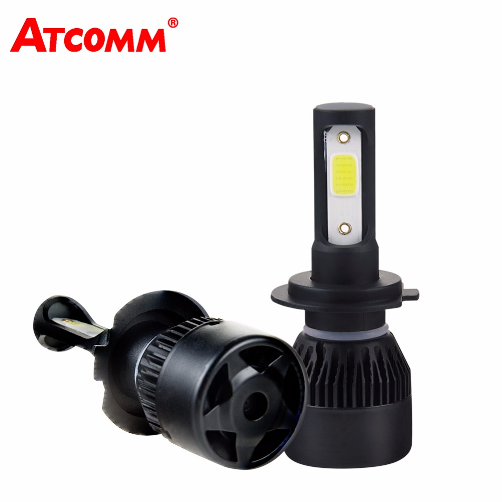 ATcomm H7 H4 LED 4300K Mini Car Headlights Bulb H1 9005/HB3 9006/HB4 12V 24V 8000Lm COB LED H11/H8/H9 Auto Moto Truck Fog Lamp