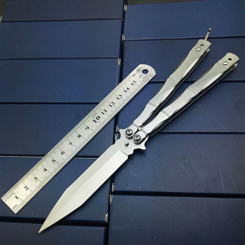 Dedo Tallados grabado mariposa en cuchillo no Sharp bolsillo plegable Cuchillos con cinturón clip colección EDC acero inoxidable