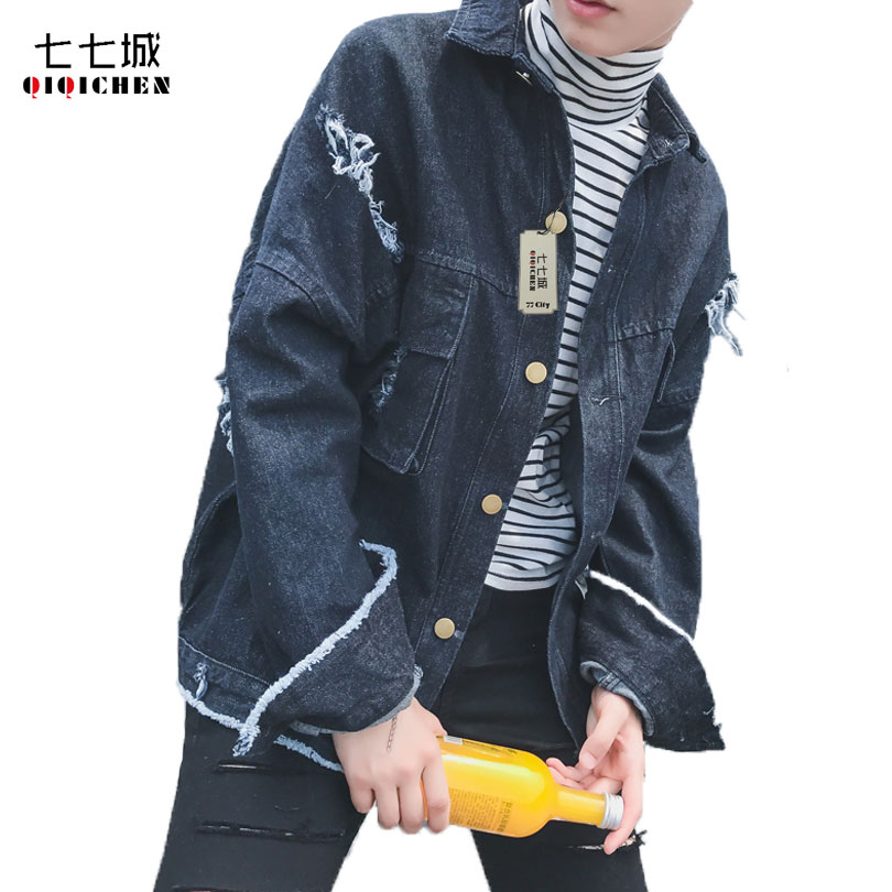 Autumn New 2017 Hole Black Blue Denim Jacket Men Distressed Ripped Hip Hop Oversized Korean Short Fashion Vintage Jeans Coat Men