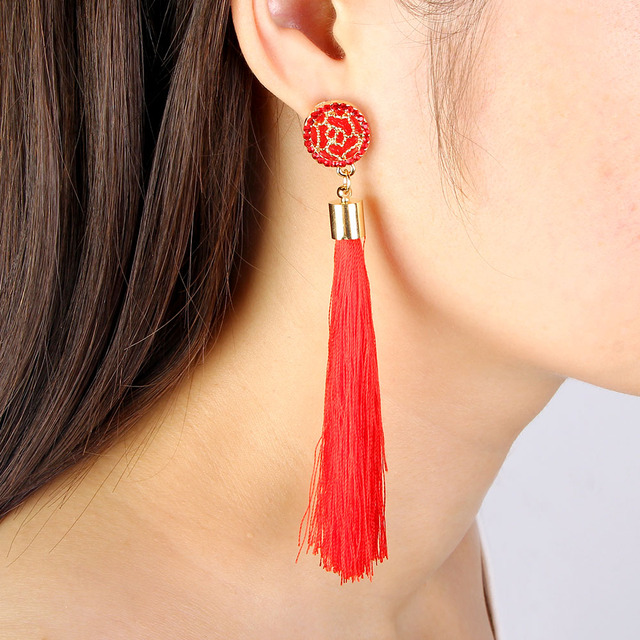 Black Crystal Flower Fringe Earings Earing Geometric Long Dangle Tassel Earrings For Women 2018 Fashion Jewelry Oorbellen Gift 2