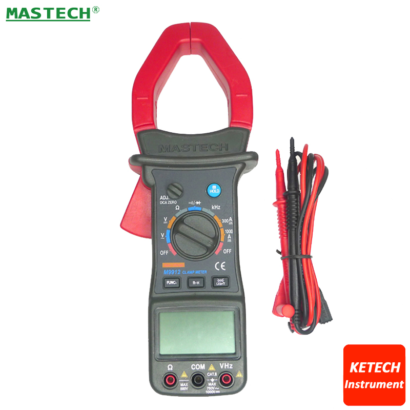 Mastech M9912 Digital AC/DC 1000A Clamp Multimeter,3200 Counts,Backlight,Frequency,CATII 1000V 1 pcs mastech ms8269 digital auto ranging multimeter dmm test capacitance frequency worldwide store