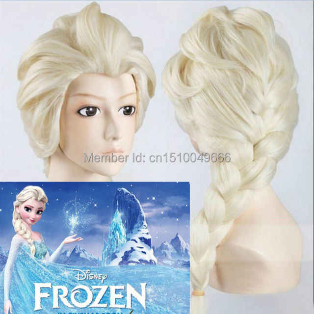 YJ2120 >>> Princesa Congelado Snow Queen Elsa Weaving Braid Loiro Claro Peruca Cosplay