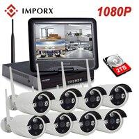 IMPORX 8CH CCTV System Wireless 1080P NVR 8PCS 2 0MP IR Wireless NVR Kits 10 LCD