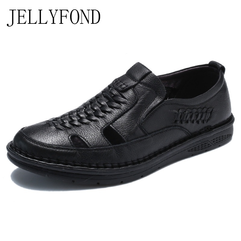 Handmade Genuine Leather Sandals Men Casual Shoes Summer Shoes 2018 Breathable Designer Sandals For Man Black Zapatillas Hombre