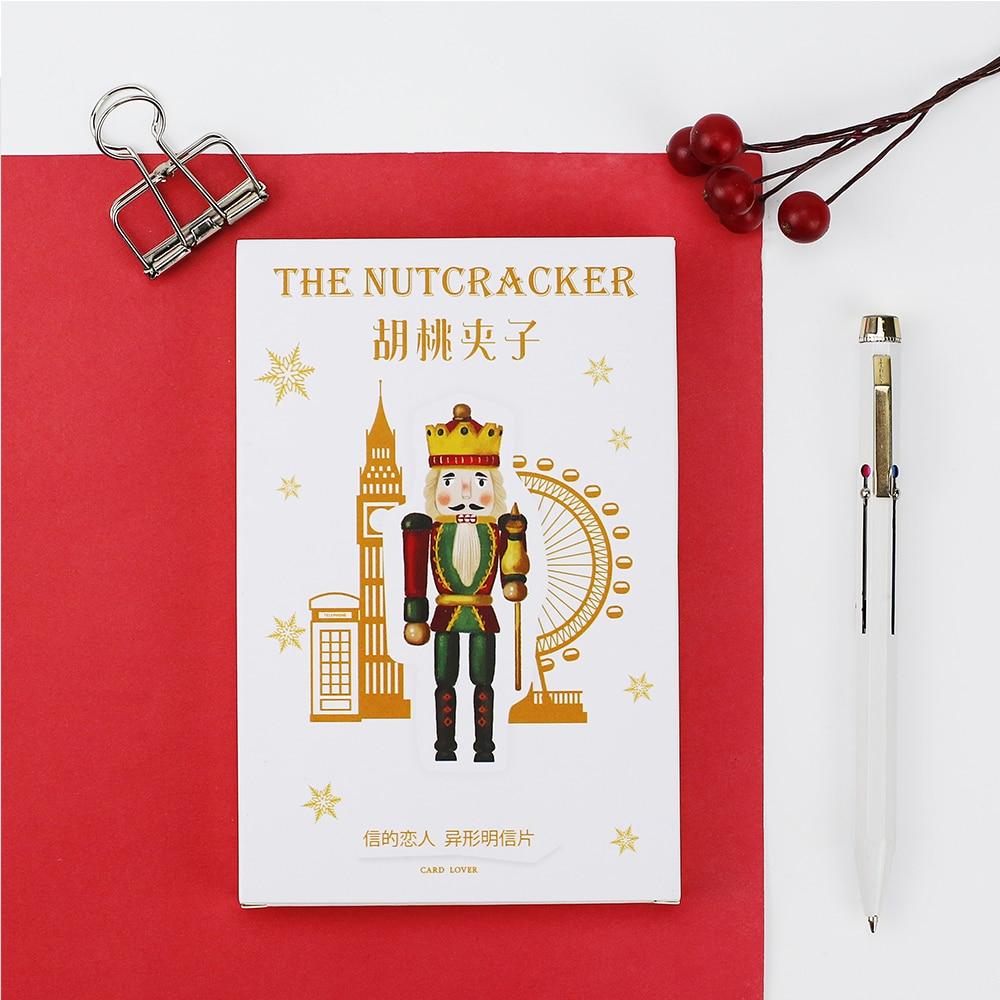 30pcs/lot Cute Nutcracker Postcards DIY Cartoon Greeting Card Gifts Shaped Cards Bookmark Korean Office and School Supplies
