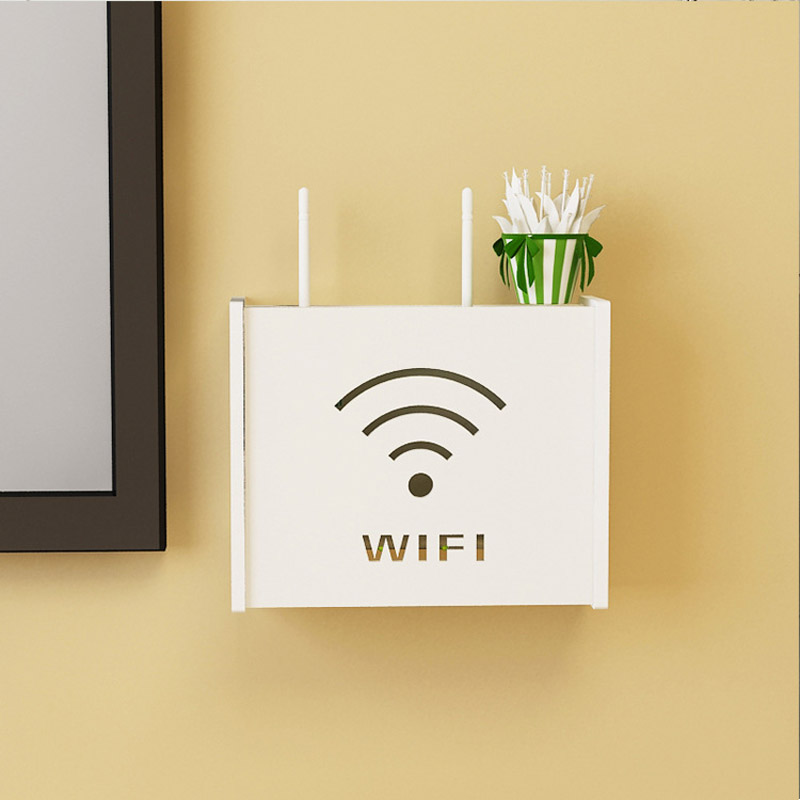 Smile Cat Pattern Wireless Wifi Router Box PVC Wall Shelf Hanging Plug Board Bracket Storage Box EUROPE Style Storage Boxes Bins|Storage Boxes & Bins| |  - title=