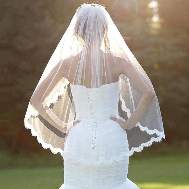 Women Wedding Accessories White Lace Veil 1 Layers Tulle Ribbon Edge Bridal Veils