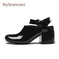 Stylesowner okrągły toe chunky heel kobiety kostki pasek pompy na wiosnę wysokiej jakości pasek ze skóry lakierowanej klamra lady buty czarny