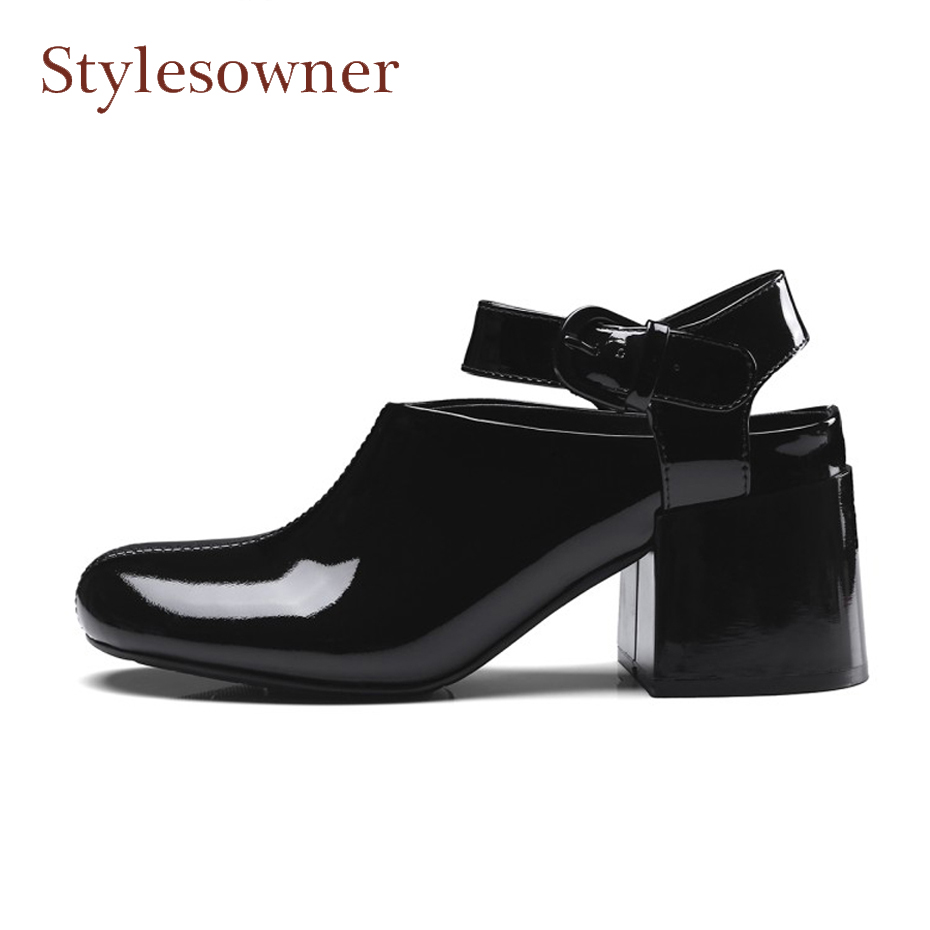 Stylesowner round toe chunky heel ankle strap women pumps for spring high quality patent leather belt buckle lady shoes black stylesowner elegant lady pumps sandal shoe sheepskin leather diamond buckle ankle strap summer women sandal shoe