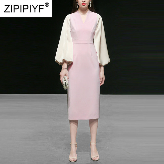 2019 New Arrivals Knee-Length Dress Women Casual V-Neck Solid Pink Dress A-Line High Waist Bodycon Elegant Female Dresses K601