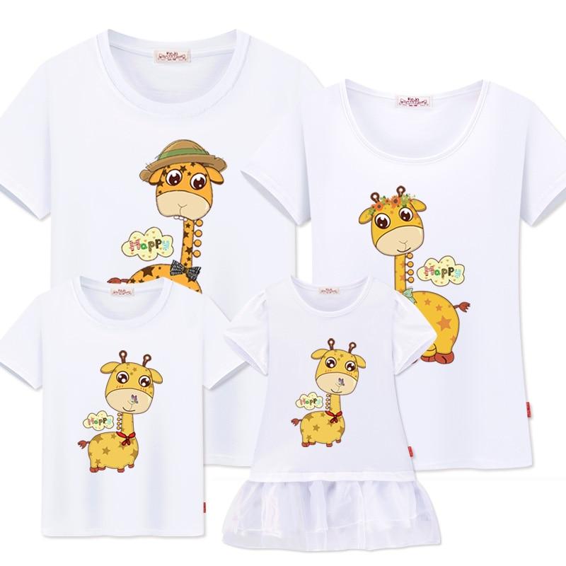 Familienlook Mutter Tochter Kleider Familie T-Shirts Vater Sohn Mutter passende Kleidung Mode Sommer lässig Baumwolle Paar Outfits
