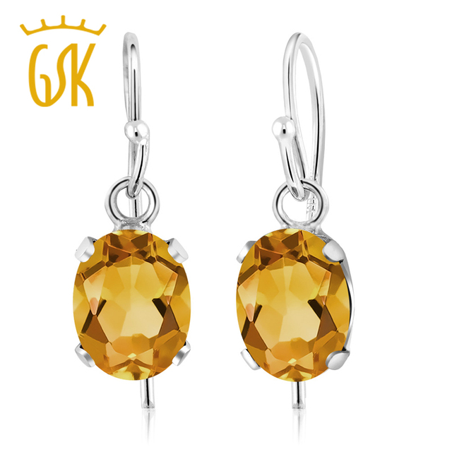 Citrine Earrings Gemstoneking 1 20 Ct Oval Natural Yellow Jewelry 925 Sterling Silver For Women