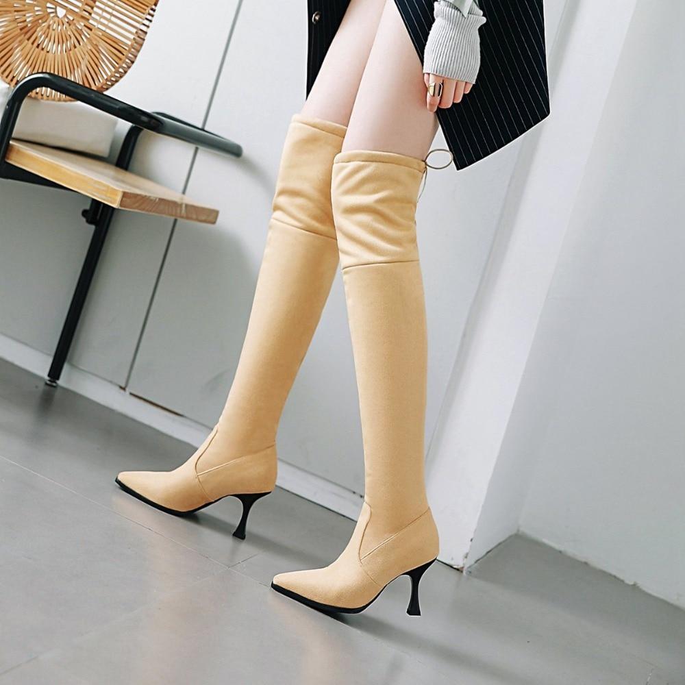 3a324e2a La Apricot Zapatos Sb204 Suave Sobre negro 2018 Mujeres Tamaño Flock  Superior Mujer Tacones De 43 ...