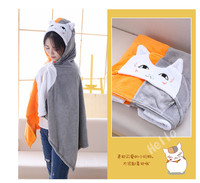 New Cosplay Totoro Lovely Plush Soft Cloak Totoro Cape Cat Cartoon Cloak Coral Fleece Air Blankets Birthday Valentine Gifts