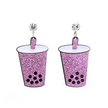 Fashion Exaggerated Acrylic Drinking Cup Women Earrings Trendy Hip Hop Night Club Jewelry
