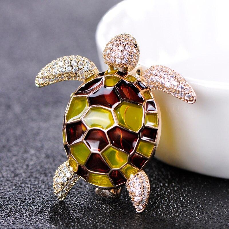 Женская медная брошка FUNMOR, эмалированная брошка в форме черепахи с микро инкрустацией и фианитом, Аксессуары для платья, шарф с пряжкой|Броши|   | АлиЭкспресс