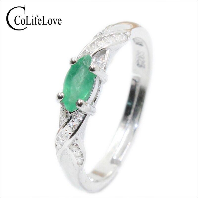 Nova moda natural esmeralda anel 3 mm * 6 mm genuíno esmeralda anel de prata esterlina esmeralda anel de noivado para a mulher