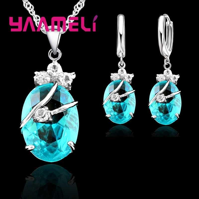 Vintage-Schmuck Sets Für Frauen 925 Sterling Silber Hochzeit Set Kristall Stein Anhänger Charms Halskette Hoop Ohrringe