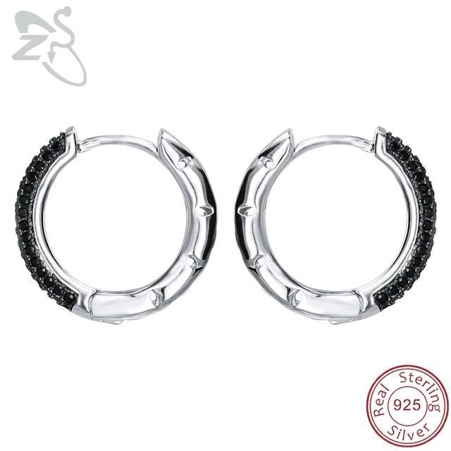 Zs 925 Sterling Silver Hoop Earrings Round Paved Black Crystal Zirconia For Women Huggie