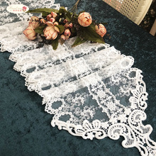 Proud Rose European White Table Runner Lace Cloth Flag Wedding Decoration Princess Room Supplies