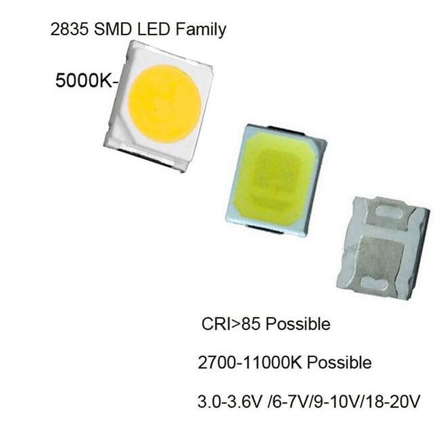 100pcs Smd Led 2835 White Chip 1w 3v 6v 9v 18v 22 110lm