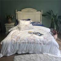 Nuovo Reale di Lusso Del Ricamo 100 S/1000TC di cotone Egiziano set di Biancheria Da Letto Bianco Rosa Grigio Blu Duvet foglio di biancheria da Letto di copertura /Federe di lino