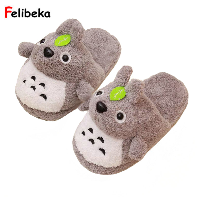 Drop shipping gray totoro slippers for women winter warm slipper at home in door plush shoes one size siketu 2017 women home slippers spliced warm pregnant women shoes best gift drop shipping dec27
