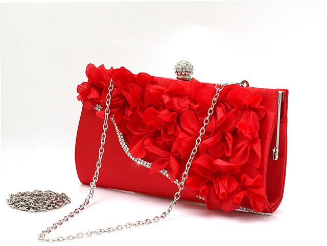 9 Colors Handmade Fabric Flowers Evening Bag 3