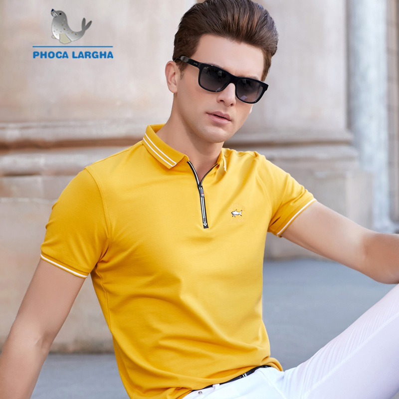 New Men's Solid Color   Polo   Shirts Cotton Embroidery Short Sleeve   Polos   For Man Summer Zipper Stand Collar Casual Male   Polo   Shirt