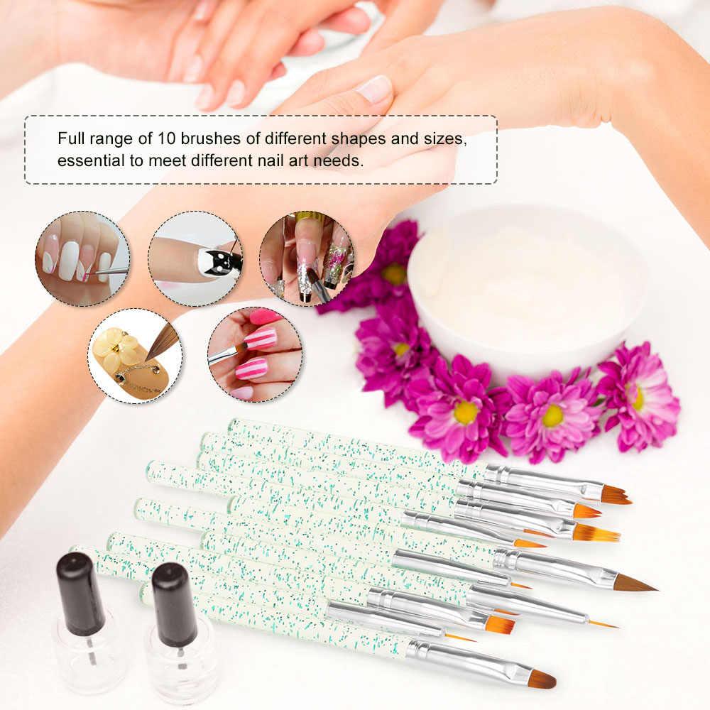 10 unids/set pincel de Arte de uñas dibujo pluma diseño herramientas de manicura Builder línea plana gradiente UV Gel acrílico puntas de cristal