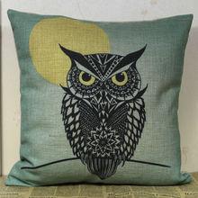 Linkwell 45 x 45 cm negro búho debajo amarillo árbol de la luna de la noche tela de lino sofá decoración funda de almohada almohada cubierta de la silla cubierta del amortiguador del tiro