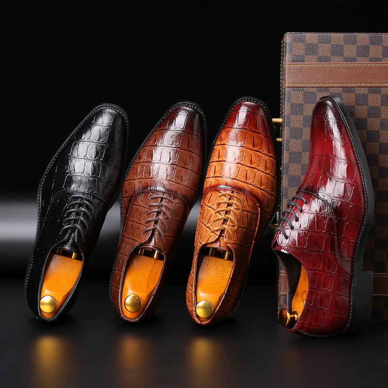 2018 Luxury Men's Dress Leather Shoes Plus Size 38-48 Lace-up Business Casual Leather Shoes Men Formal Wedding Flat Shoes image