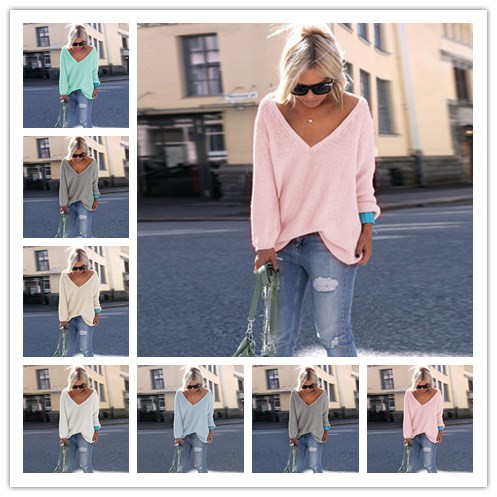 2016 autumn winter sweater women fashion pullover loose long-sleeved sexy V-neck sweater 6 colors free size pull femme