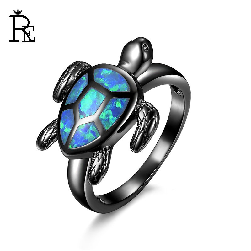 RE New Design Animal Tortoise Ring Fire Opal Black Gold Filled Jewelry Wedding For Women Female Rings Gifts