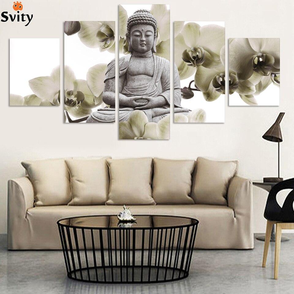 UnFramed 5 Panel Velká orchidej pozadí Buddha Malba Fengshui Umělecké plátno Obrazy pro obývací pokoj Home Decor Fx015