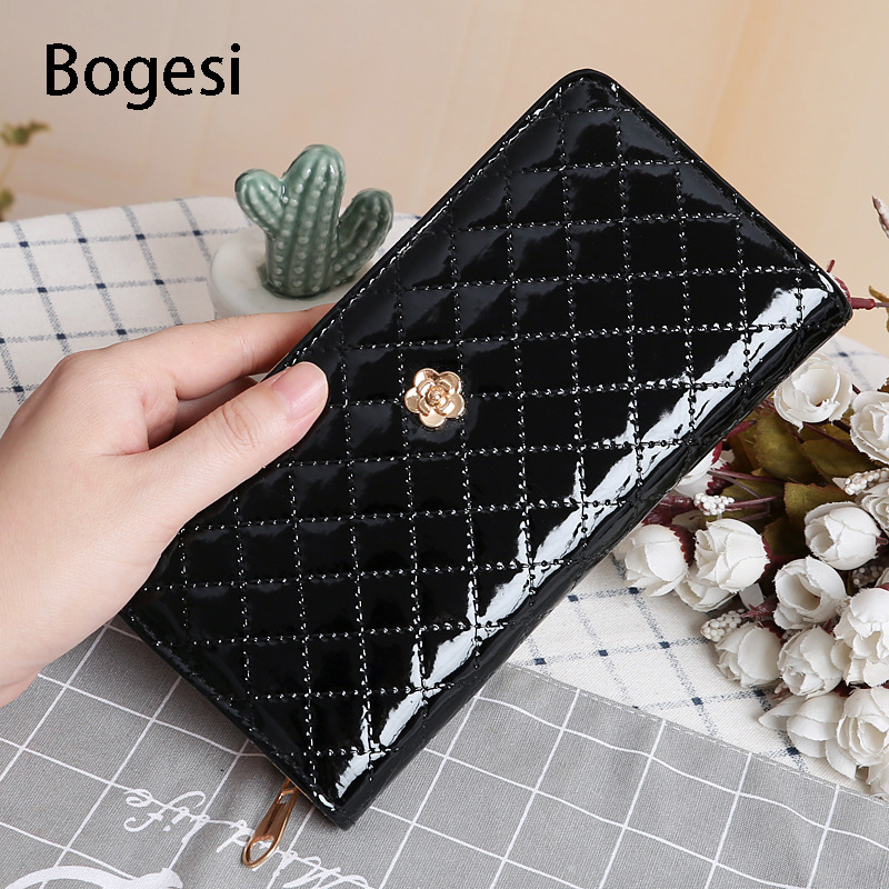 Bogesi New 2018 Women's Purse Women Wallet Luxury Brand Design Long Wallets Flowers Geometric Patterns Zipper Clutch Coin Purse