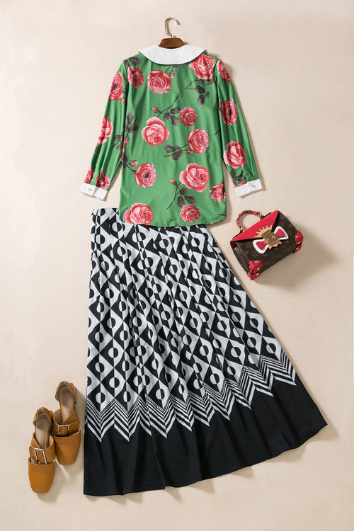 New Hot Sale Clothing Skirt Suit 2017 Spring Summer Women Peter Pan Collar Rose Flower Print Green Shirt+Long Maxi Skirt(1Set)