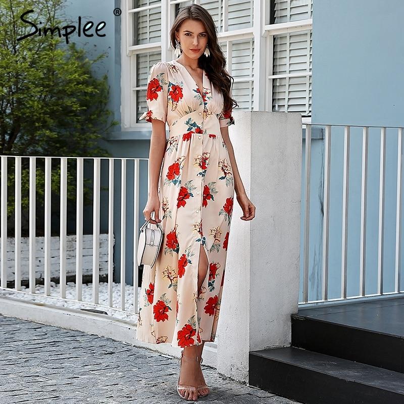 Simplee цветочный принт летнее платье с длинным v-образным вырезом узлом с коротким рукавом Макси платье женское уличная Кнопка пляжное Повсед...