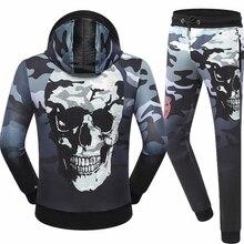 ECTIC Men casual sports suit Skeleton printing Rhinestone decoration sportman fashion set hoodie/pants 100% cotton M-XXXL