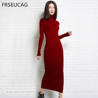 Best selling new cashmere dress women's knit long section turtleneck sweater Slim sexy pullover autumn and winter models 2018
