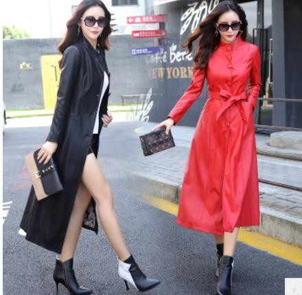 M/5Xl Women Large Swing Faux Leather   Trench   Single Breasted Casual Long Section Female Leather   Trench   Overcoats With Belt K674