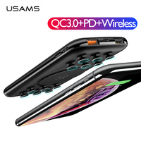 USAMS 10000mAh Power Bank QC3.0+PD3.0 Wireless 18W Fast Charging Power bank With Suction Cup Portable External Battery Poverbank