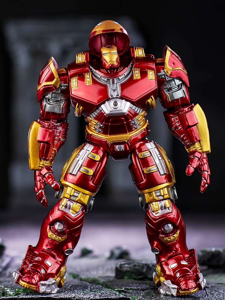 Avengers Iron Man Hulk Buster Armor Joints Movable Anti Hulk LED Light PVC Action Figure Collection Model For Kids Toy 18cm the avengers egg attack iron man patriot a i m ver super hero pvc ironman action figure collection model toy gift 18cm