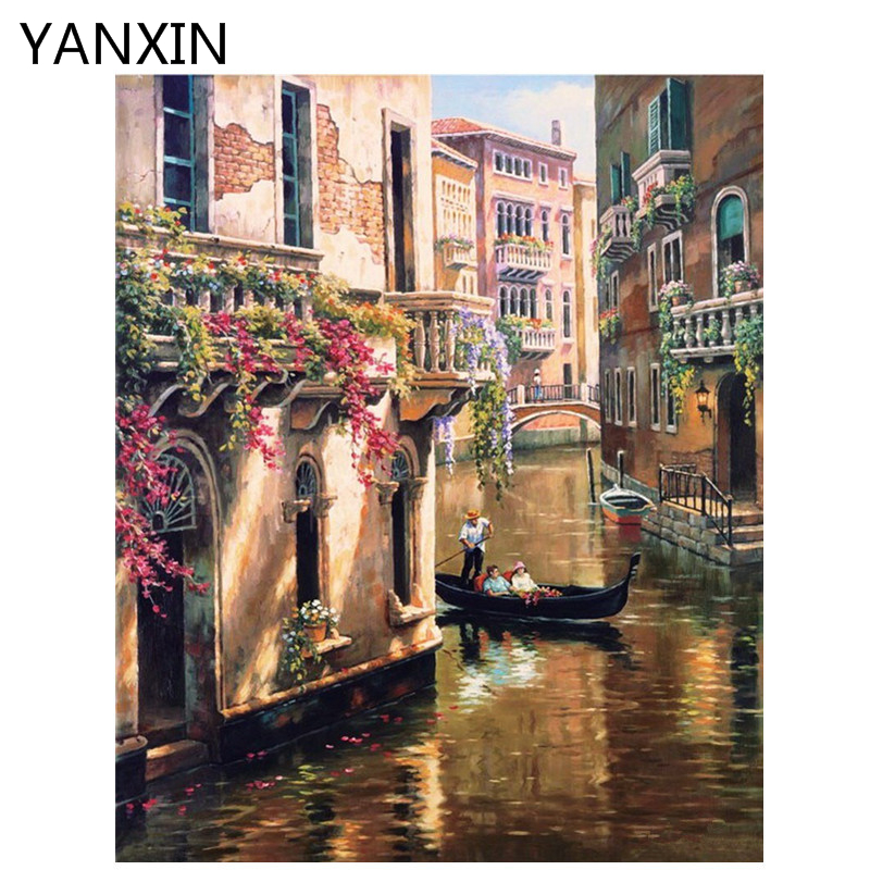 YANXIN DIY Frame Painting By Numbers Oil Paint Wall Art Pictures Decor For Home Decoration 945