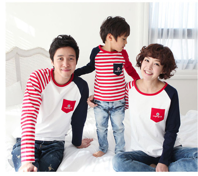 free shipping family clothing for mother and daughter T-shirt for father and son striped Family Matching Outfits