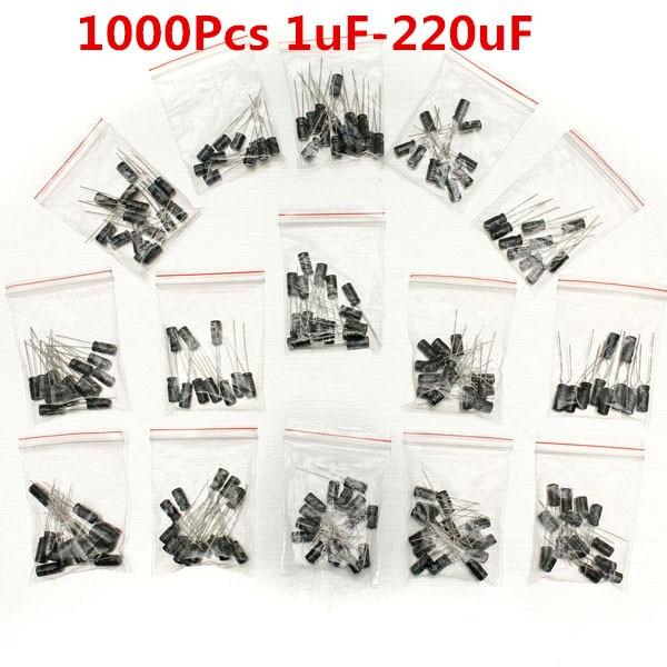 1000Pcs 15 Values Electrolytic Capacitor Assortment Kit 1uF~220uF Capacitors Assorted Set on sale