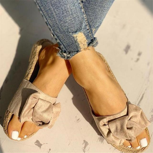 Hausschuhe Frauen Rutschen Sommer Bogen Sommer Sandalen Slipper Indoor Outdoor Leinen Flip-Flops Strand Schuhe Weibliche Mode Blumen Schuhe