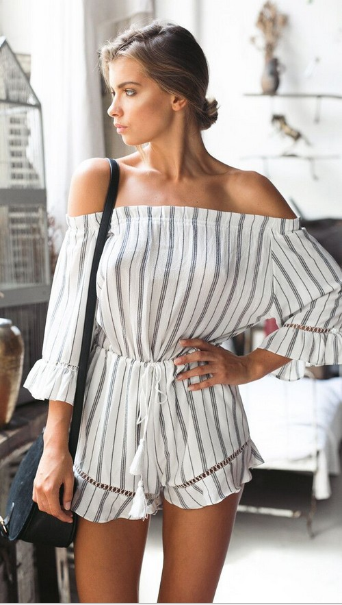 Free Shipping Summer Casual Stripe font b Jumpsuit b font Women Fashion Summer Stripe font b