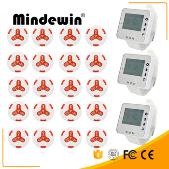 Mindewin 20pcs Call Transmitter ButtonM-K-3+3 Watch Receive M-W-1 Restaurant Pager Wireless Calling System Catering Equi