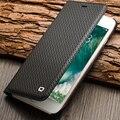 Qialino estojo para iphone 7 abertura de luxo genuine leather flip folio slot para cartão capa para iphone 7 plus ultra fino 4.7/5.5 coldre